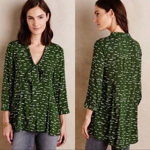 Anthro Maeve green cloud pussy bow blouse A0022